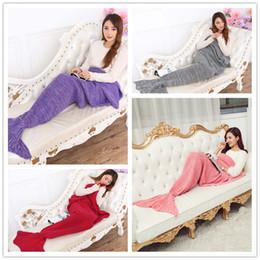 CroChet Children bag online shopping - Kids Mermaid Tail Blanket Soft Hand Crocheted Sofa Blanket Mermaid Tail Sleeping Bags air condition blanket CM B0724