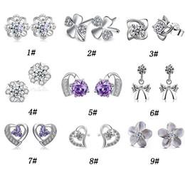925 silver austria crystal online shopping - 30 Sterling Silver Stud Earrings For Women Cut Swiss Austria Diamond Crystal Style Silver Earring High quality Jewelry