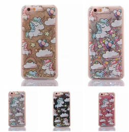 $enCountryForm.capitalKeyWord Australia - Magical Unicorn Horse Quicksand Liquid Hard PC Case For Iphone 6 Plus 6S 4.7 5.5 I6 Glitter Star Clear Flow Dynamic Phone Skin Cover 10pcs