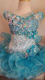 Barato Barato Criança Curto Pageant Vestidos-2016 New Toddler Little Girls Pageant Vestidos Cupcake Crystal Beaded Ball Gown Organza Blue Flower Girl Dress Vestidos de festa de aniversário baratos