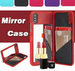 $enCountryForm.capitalKeyWord Canada - Lady Girl Makeup Mirror Flip Wallet Case Multi Function ID Card Slot Holder hard PC Cases Cover for iphone X 8 7 6 6S plus