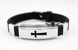 $enCountryForm.capitalKeyWord Canada - High Quality Leather Jewelry Wholesale Free Shipping New Trendy Women Men Gift Titanium Steel Cross Bracelet Bangle U7 H457