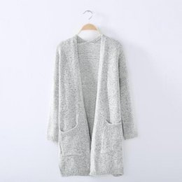 Suéter Largo Flojo Coreano Baratos-Al por mayor-Nueva Arriva Otoño Wear Women Long Cardigan Sweater Ladies Loose Knitted Cardigans Coat Korean Poncho salvaje gris de punto