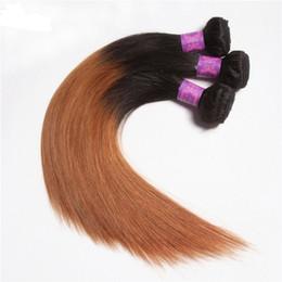 Discount straight raw hair - Medium Auburn Ombre Hair Extensions Straight Raw Indian Virgin Human Hair Bundles Deals Cheap Pre-Colored Two Tone 1B 30