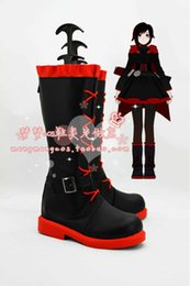 Costumes En Rubis En Gros Pas Cher-Grossiste-Anime RWBY Ruby Rose cosplay chaussures Custom Made Halloween Livraison gratuite