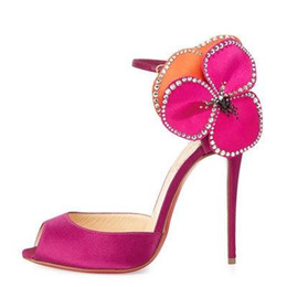 $enCountryForm.capitalKeyWord Canada - Hot Pink Satin Wedding Shoes Peep Toe Ankle Strap Flowers Beads Summer Style Ladies Pumps Custom Size 2016 New Arrival Bridal Accessories