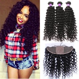 34 inches hair Australia - 13x4 Lace Frontal Closure With Bundles Deep Curly Wave 8A Brazilian Hair With Closure Silk Base Frontal With Bundles