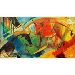 Marc Painting Australia - Hand painted oil reproduction of Franz Marc Paintings on canvas Kleines Bild mit Rindern Home decor