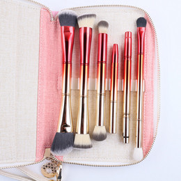 portable tool kits Canada - Portable 6pcs Double Brush Heads Makeup Brushes Set Make Up Tools Professional Cosmetic Brush Kit with Bag Gold and Red