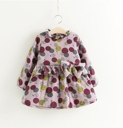 High Quality Boutique Clothing Canada - Girls Floral Print Ruffle Bow Dresses Plus Fleece 2017 Winter Kids Boutique Clothing 2-7Y Girls Long Sleeves Warm Dresses High Quality
