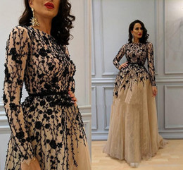 $enCountryForm.capitalKeyWord NZ - Chic Champagne Arabic Dubai Nigeria Evening Prom Dresses with Long Sleeve 2017 A-Line Jewel Black Beads Lace Formal Gowns Dress for Party