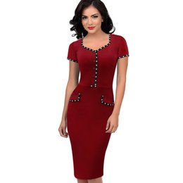 c8addddb7b5 Women s Fashion Square Collar Short Sleeve Contrast Color Pencil Dress For  Women Wine Red Sexy Club Night Out Party Dresses 4XL