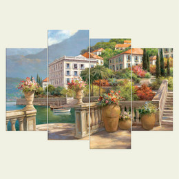 Discount textured oil paintings - (No frame) Seaside town three series HD Canvas print 4 pcs Wall Art Oil Painting Textured Abstract Pictures Decor Living