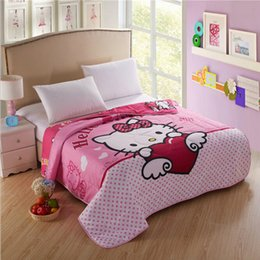 $enCountryForm.capitalKeyWord Canada - Angle Girls Hello Kitty Family Thin Quilt Home Textile, Summer Quilts for Children Gift Washable Polyester Air-conditioning Cartoon Blanket