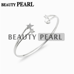 silver stars cuff bracelet UK - 3 Pieces Star Bracelet Base Pearl Semi Mountings Star 925 Sterling Silver Blanks Cuff Bangle Settings