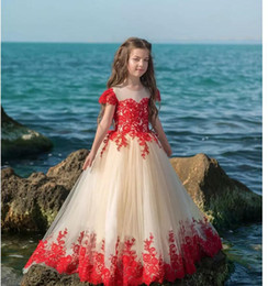 $enCountryForm.capitalKeyWord NZ - Red Lace Flower Girl Dresses Short Sleeve Jewel Neck Applique Family party birthday Girl's Pageant Dress