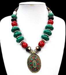 amber carvings 2019 - 18'' Ethnic Green Howlite Turquoise Necklace Pendant Tibet Silver Carved Bead discount amber carvings