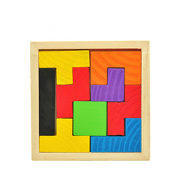 unisex wood toy Australia - Wooden Tetris Game Educational Jigsaw Puzzle Toys Wood Tangram Brain-Teaser Puzzle Preschool Children Kids Toy
