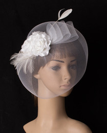 crinoline hair UK - Classical white color crinoline fascinator headwear slik flower bridal veils race show hair accessories millinery cocktail hat MYQ088