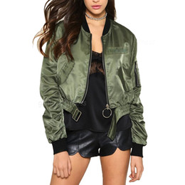 Barato Casaco Verde Do Exército Feminino-Womens Spring Bomber Short Jacket 2017 Moda Army Green Black Casacos Basic Punk Cropped Women Jackets Personality Double Zipper