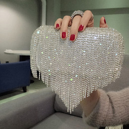 Discount hard handbags - New Rhinestones Heart Tassel Women Clutch Bags Diamonds Finger Ring Evening Bags Crystal Wedding Bridal Handbags Sliver