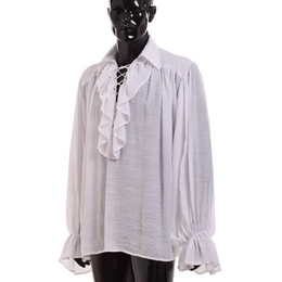China Unisex Women Men Vampire Colonial Blouse Gothic White Shirt Ruffled Renaissance Medieval Poet Pirate Blouse Long Sleeve Tops suppliers