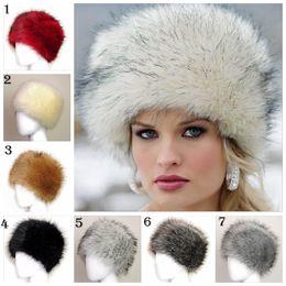 b19c1507a96 7 colors Women s Winter Faux Fur Cossak Russian Style Hat Warmer Ear Warmer  Ladies Cap Beanie YYA595