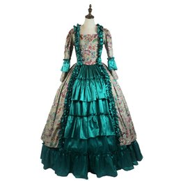 Southern belle dreSS xl online shopping - Medieval Princess Masquerade Gown Gothic Victorian Royal Women Green Dress Southern Belle Ball Gown Theater Costume