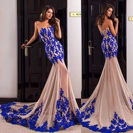 Chinese  2016 New Strapless Lace Mermaid Formal Evening Dresses Champagne + Sapphire Blue Bud Silk Applique Banquet Dress Sexy Perspective Prom Robe manufacturers