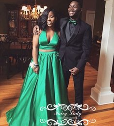 Deep V Top Black Club Baratos-2018 Green Crop Top vestidos de noche largos Formal Sexy de dos piezas Deep V cuello africano negro Girls Prom Dress Party Gowns