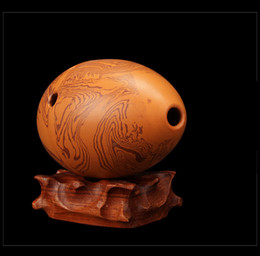 G Musical Instruments Canada - Flute Rock grain Pottery Dual-chamber Professional Clay Flauta Musical Instrument G F key Ceramic Ocarina A eight hole