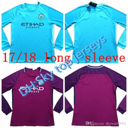 f2657aa3c 2017 2018 soccer jersey 17 18 city home long sleeve custom name number Kun  Aguero thai quality soccer uniform football jersey clothing custom long  sleeve ...