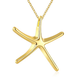 $enCountryForm.capitalKeyWord UK - Free Shipping Fashion Jewelry Necklace Starfishes Pendants Chains 18K Gold Jewelry Sea Star Pendant Cute Gift for Girls Top Quality