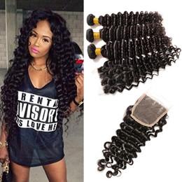 Discount cheap 22 inch bundle hair - 4*4 Lace Closure 7A Grade Peruvian Curly Hair Deep Wave 3 Bundles Peruvian Deep Wave With Top Closure Cheap 100% Peruvia