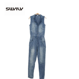 Barato Macacões Grossistas Mulheres-Atacado- Mulheres Denim Overalls European American Style 2017 Nova Mulher Rompers Bodysuit Long Salopette Jeans Vest Mulheres Mameluco Mujer