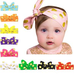 Barato Pink Baby Boutique Headbands-Boutique Baby Top Knot Pink e Gold Polka Dot Headband Top nó Headband White e Gold Turban Headband Twisted Knot Headband