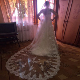 $enCountryForm.capitalKeyWord Canada - New Hight Quality 3 Meters New Long White Ivory Wedding Veil cathedral short Lace Edge With Comb One Layer applique