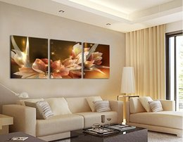 $enCountryForm.capitalKeyWord Australia - Free Shipping Canvas Painting Wealth and luxury golden flowers 3 Piece Art Cheap Picture Home Decor On Canvas Modern Wall Prints