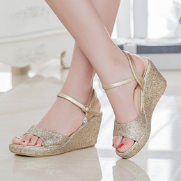 $enCountryForm.capitalKeyWord NZ - New Summer 8cm Wedges Women Sandals Peep Toe Platform Comfort Women Sandals Thick Heels Ankle Strap Fashion Women Sandals Size 35-43
