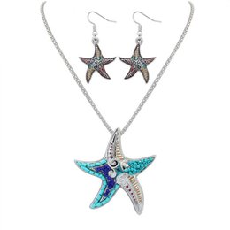 bohemian lights UK - Bohemian Beach Jewelry Mini Beads & Enamel Starfish Necklace Earrings Sets for Women Trendy African Jewelry Sets Silver Plated