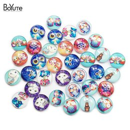 Wholesale BoYuTe pieces mm Round Pattern Cabochon Mix Owl Skull Skeleton Image Glass Cabochon Blank Pendant Cover xl9789