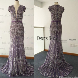 Barato Vestido De Renda Com Mangas-Imagem real 2017 Sheer Evening Dresses Deep V Pescoço Major Beading Crystal Cape Mangas Sereia Tulle Under Lace Vestidos de noite Dhyz 01