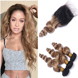front lace closure ombre weaves Canada - Malaysian 2Tone Ombre Human Hair Weaves with Lace Closure Loose Wave 1B 27 Honey Blonde Ombre 3Bundles with 4x4 Lace Front Closure