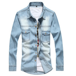 New jeaNs shirt for meN online shopping - New Arrival Men Jeans Shirt Thin Camisa Jeans Fashion Casual Jeans for Men Denim Shirt Asian Size XXL Spring Autumn