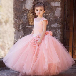 Princess Royal Puffy White Strap Canada - Pink Color Girls Pageant Gowns Cute Handmade Flowers Tutu Tulle Ball Gown Wide Straps Puffy Flower Girl Dresses Real Images