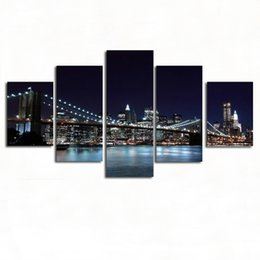 night scenery painting 2019 - City night scenery 5 Pieces HD print scenery painting on canvas wall art pictures modern fashion home decoration living