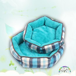 Puppies Beds Canada - Pet beds for dogs size S M L warm cat bed plaid PP cotton super soft dog beds for puppies luxury dog beds