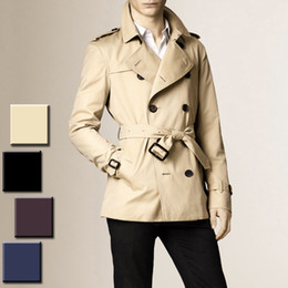 Barato Emagrecimento Peito-2017 Hot New Fashion Slim Fit Men Casual Trench Coat Mens Short Winter Coats Mens Double Breasted Trench Coat UK Style Outwear