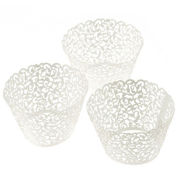 white laser cut cupcake wrappers 2020 - Wholesale- 100pc Laser Cut Cupcake Wrapper Lace Wedding Cup Cake Wrappers Paper Cases Pink White Blue Purple Party Cake