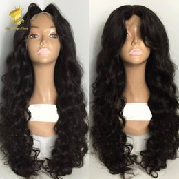 2018 big virgin black lady 100% Human hair Middle part Full Lace Human Hair Wigs Lace Front Wig Body Wave peruvian Wigs for Black Women With Baby Hair discount big virgin black lady